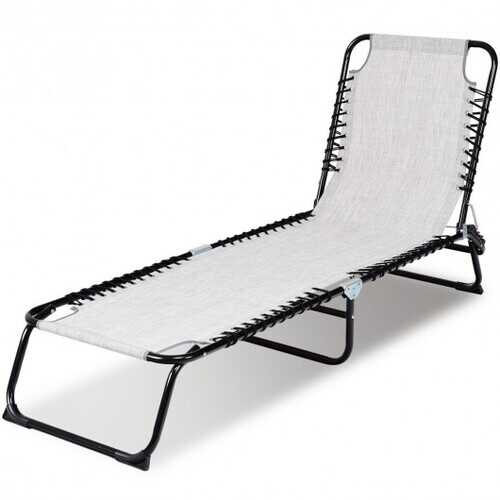 Foldable Camping Patio Chaise Lounge Chair-Gray