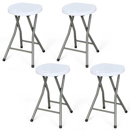 4 pcs Portable Folding Stool Collapsible Round Stool Set