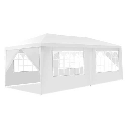 10' x 20' 6 Sidewalls Canopy Tent with Carry Bag - Color: White