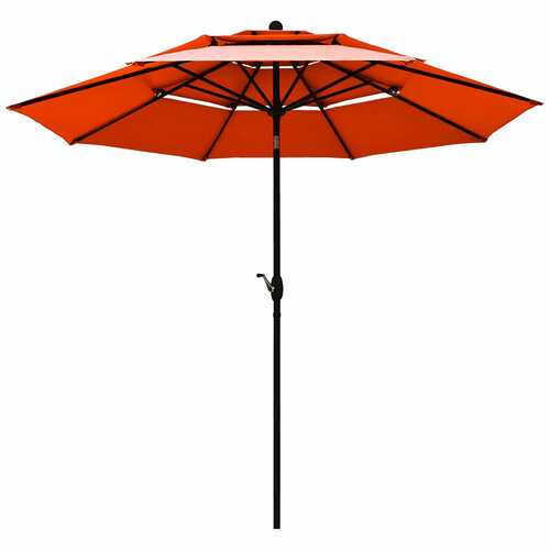 10ft 3 Tier Patio Umbrella Aluminum Sunshade Shelter Double Vented-Red