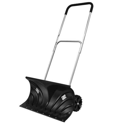 Rolling Snow Pusher Shovel w/Adjustable Handle