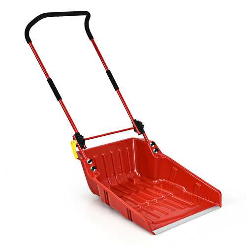Folding Snow Pusher Scoop Shovel with Wheels and Handle