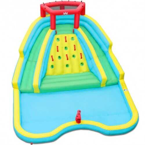 Double Side Inflatable Water Slide Park with Climbing Wall