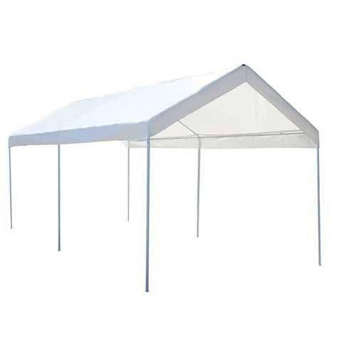 10 x 20 Steel Frame Portable Car Canopy Shelter - Color: White