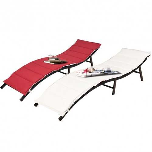 2Pcs Folding Patio Lounger Chair - Color: Brown