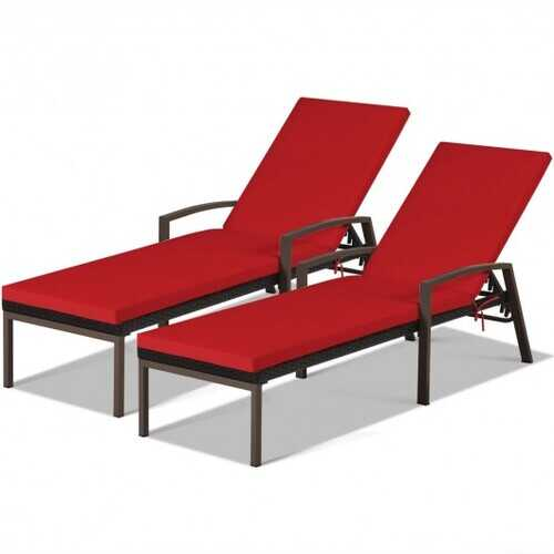 2 pcs Patio Rattan Adjustable Back Lounge Chair-Red - Color: Red
