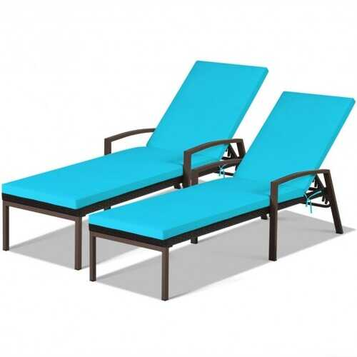 2 pcs Patio Rattan Adjustable Back Lounge Chair-Turquoise - Color: Turquoise