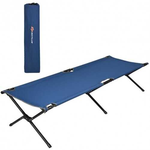 Adults Kids Folding Camping Cot-Blue - Color: Blue