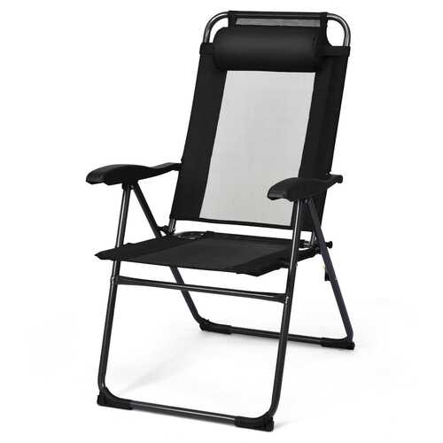 2 PCS Patio Adjustable Folding Recliner Chairs-Black