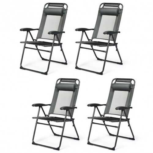 4 Pcs Patio Garden Adjustable Reclining Folding Chairs with Headrest-Gray - Color: Gray