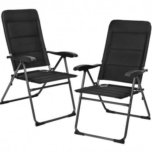 2 Pcs Patio Back Adjustable Reclining Folding Chairs-Black