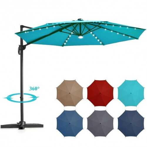 10 Ft Patio Offset Cantilever Umbrella with Solar Lights-Turquoise