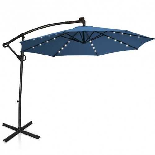 10 ft 360° Rotation Solar Powered LED Patio Offset Umbrella-Blue - Color: Blue