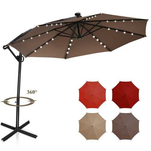 10 ft 360° Rotation Solar Powered LED Patio Offset Umbrella without Weight Base-Tan