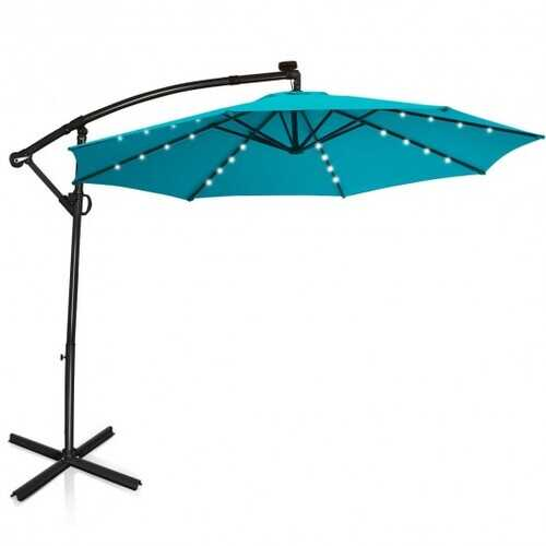 10FT 360° Rotation Solar Powered LED Patio Offset Umbrella-Turquoise