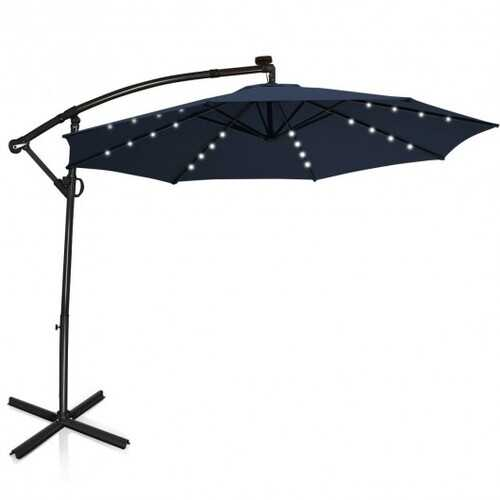10 ft 360° Rotation Solar Powered LED Patio Offset Umbrella without Weight Base-Navy