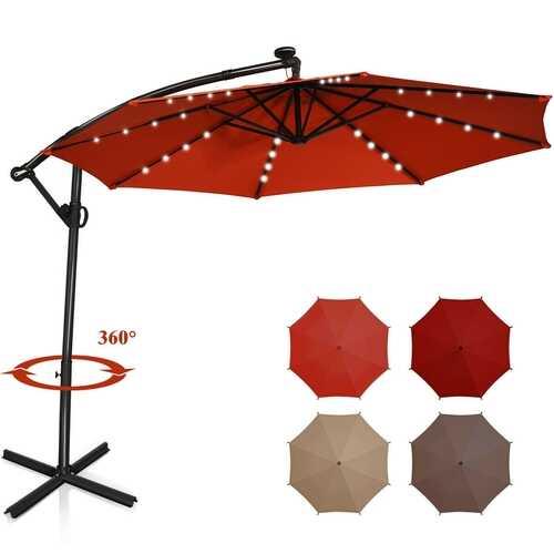 10 ft 360° Rotation Solar Powered LED Patio Offset Umbrella without Weight Base-Orange - Color: Orange