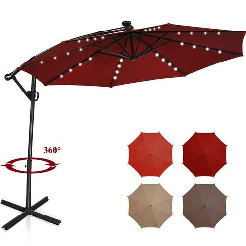 10 ft 360° Rotation Solar Powered LED Patio Offset Umbrella without Weight Base-Burgundy - Color: Burgundy