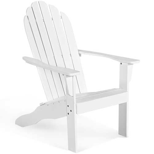 Outdoor Solid Wood Durable Patio Adirondack Chair-White