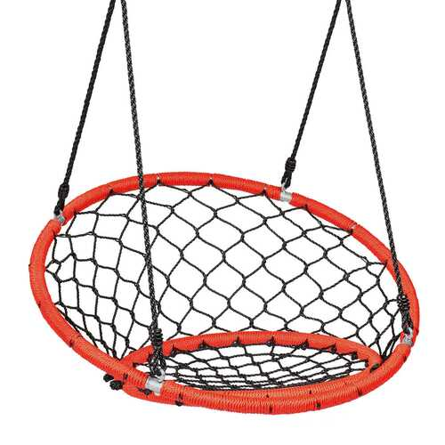 Net Hanging Swing Chair with Adjustable Hanging Ropes-Orange