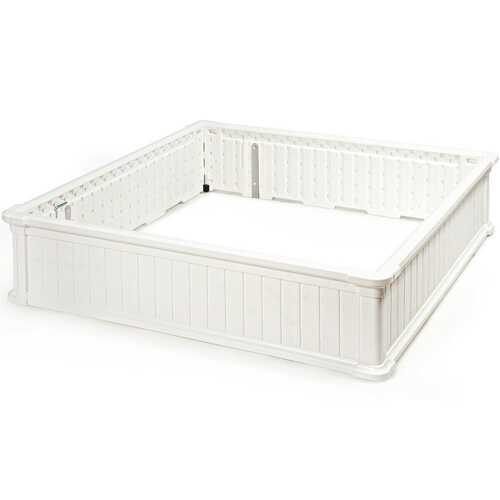 """48.5"""" Raised Garden Bed Planter for Flower Vegetables Patio-White"""