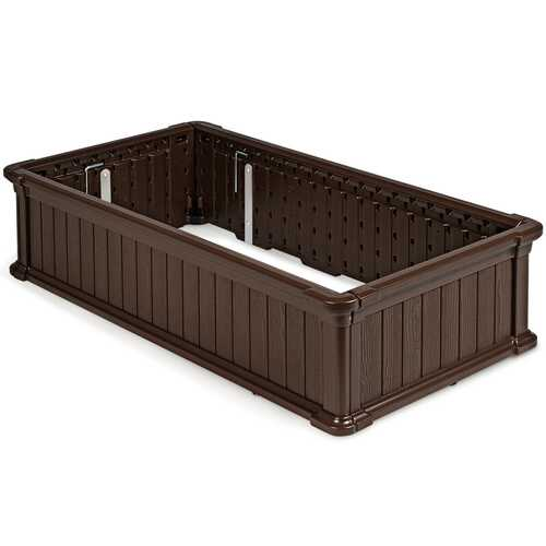 "48"" x 24"" Raised Garden Bed Rectangle Plant Box-Brown"