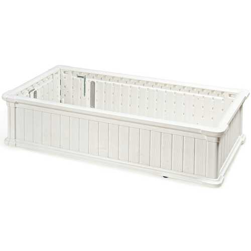 "48"" x 24"" Raised Garden Bed Rectangle Plant Box-White"