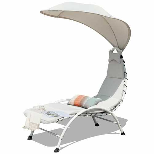 Patio Hanging Swing Hammock Chaise Lounger Chair with Canopy-Beige