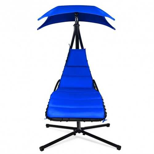 Hanging Stand Chaise Lounger Swing Chair with Pillow-Navy - Color: Navy