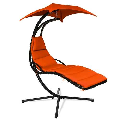Hanging Stand Chaise Lounger Swing Chair w/ Pillow-Orange