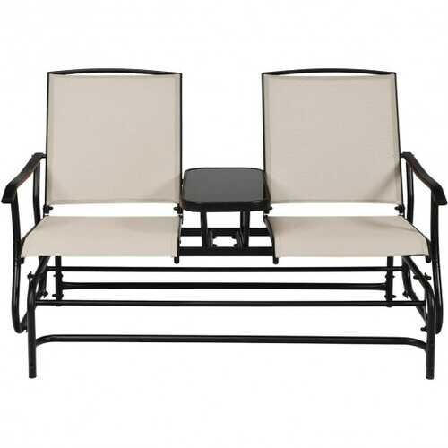 2-Person Outdoor Patio Double Rocking Loveseat  - Color: Beige
