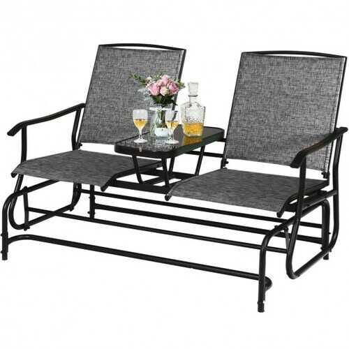 2-Person Outdoor Patio Double Rocking Loveseat -Gray - Color: Gray