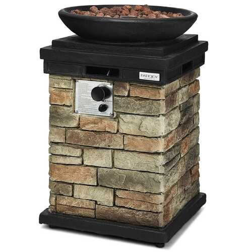 40000BTU Outdoor Propane Burning Fire Bowl Column Realistic Look Firepit Heater