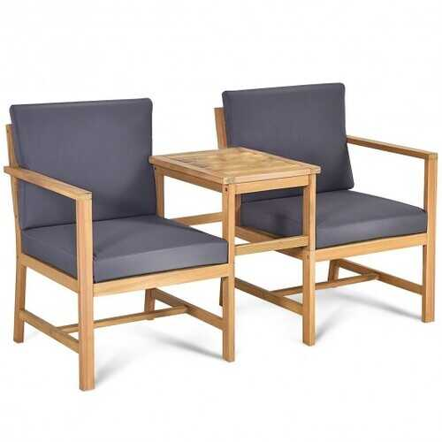 3 in 1 Patio Solid Wood Thick Cushion Garden Furniture