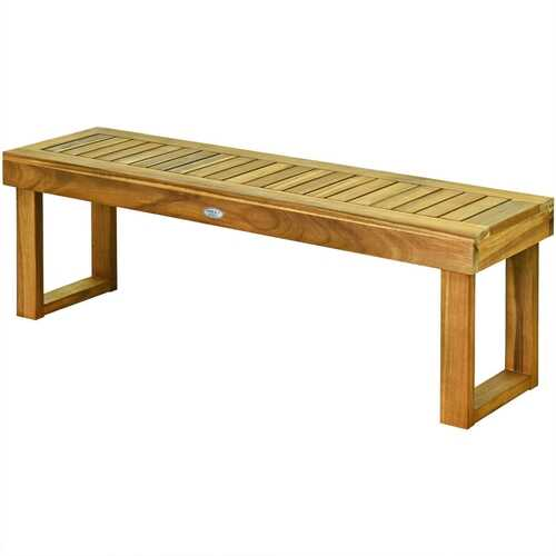 "52"" Acacia Wood Dining Bench with Slatted Seat"