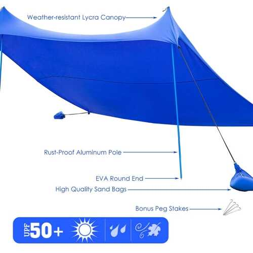 10' x 9' Family Beach Tent Canopy Sunshade w/ 4 Poles-Blue - Color: Blue