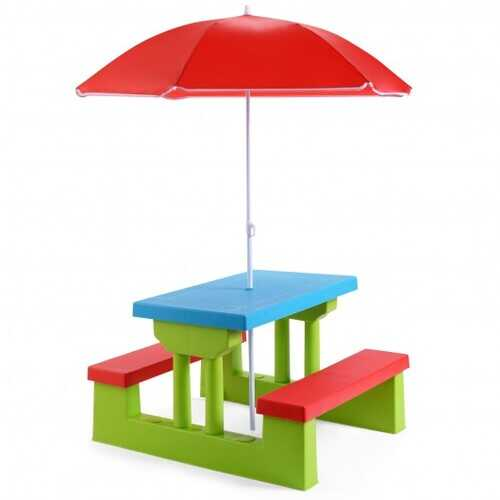 Kids Picnic Folding Table and Bench with Umbrella - Color: Green