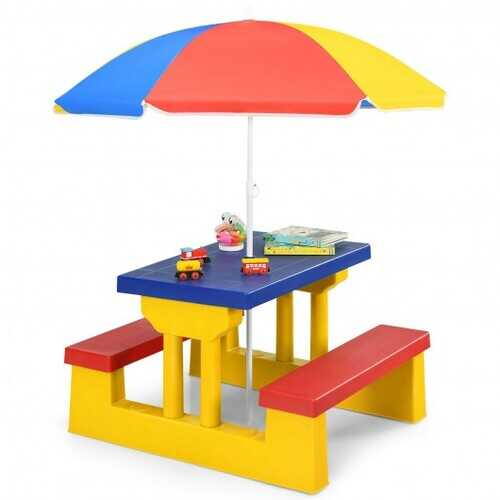 Kids Picnic Folding Table and Bench with Umbrella-Yellow - Color: Yellow