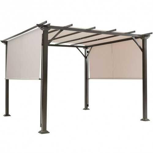 10' x 10' Metal Frame Patio Furniture Shelter-Beige - Color: Beige