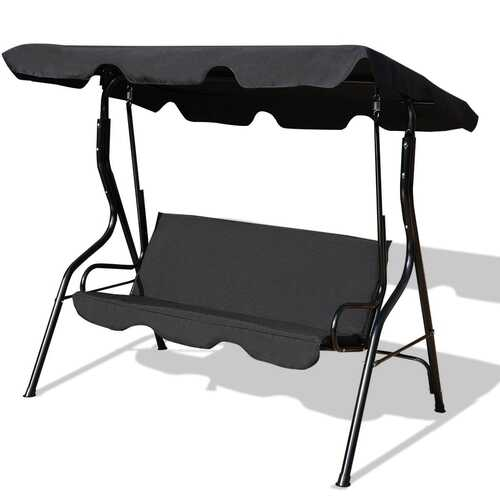 3 Seats Patio Canopy Swing-Black