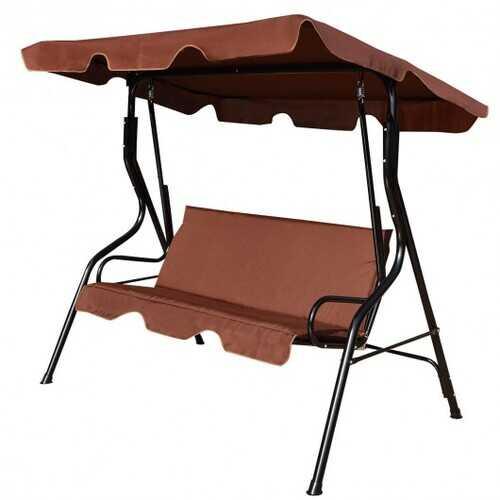 3 Seats Patio Canopy Swing-coffee