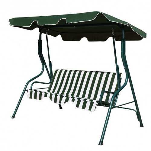 3 Seats Patio Canopy Swing-Green