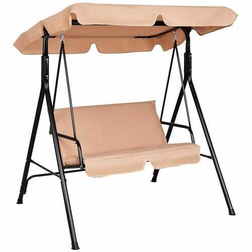 Loveseat Cushioned Patio Steel Frame Swing Glider -Beige