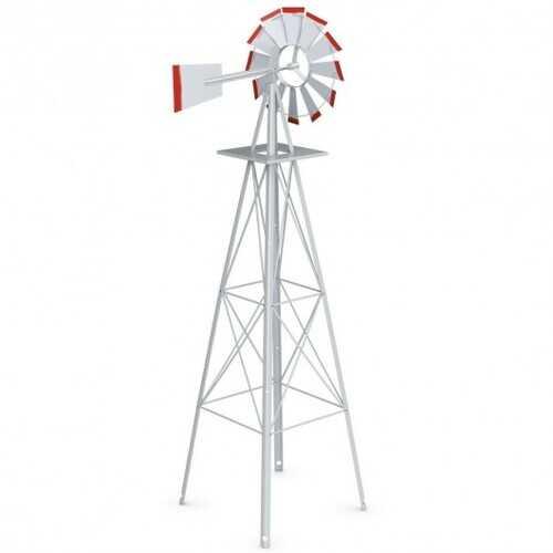 8 ft Tall Windmill Ornamental Wind Wheel-Silver - Color: Gray