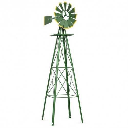 8 ft Tall Windmill Ornamental Wind Wheel-Green - Color: Green