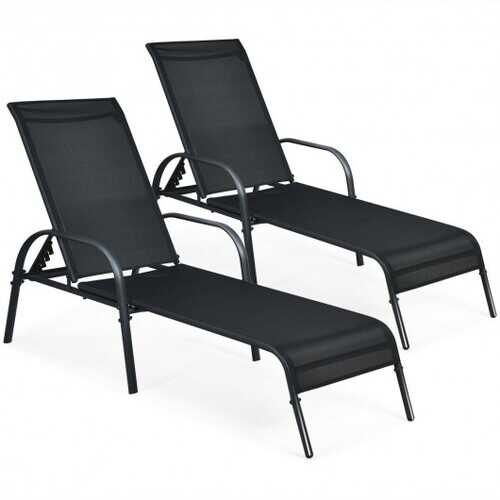2 Pcs Outdoor Patio Lounge Chair Chaise Fabric with Adjustable Reclining Armrest - Color: Black