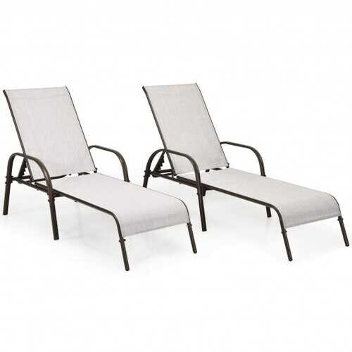 2 Pcs Outdoor Patio Lounge Chair Chaise Fabric with Adjustable Reclining Armrest-Gray - Color: Gray
