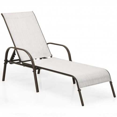 Adjustable Patio Chaise Outdoor Folding Lounge Chair with Adjustable Backrest-Gray - Color: Gray