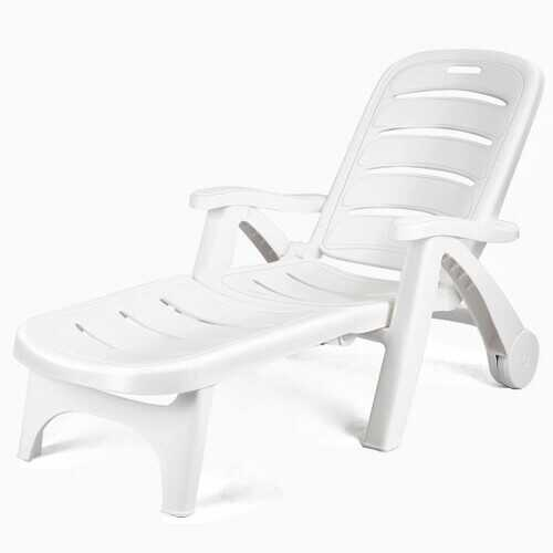 5 Position Adjustable Folding Lounger Chaise Chair on Wheels - Color: White