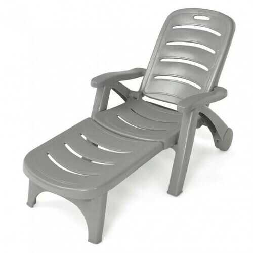 5 Position Adjustable Folding Lounger Chaise Chair on Wheels-Gray - Color: Gray